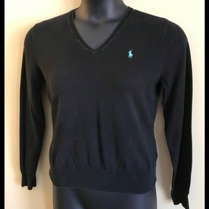 Ralph Lauren Black Women's V-Neck Sweater Sz Large